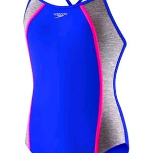 Speedo Heather Splice One Piece Swimsuit Blue 10
